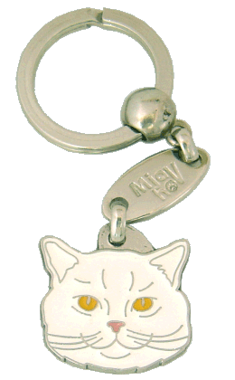 British Shorthair white - pet ID tag, dog ID tags, pet tags, personalized pet tags MjavHov - engraved pet tags online